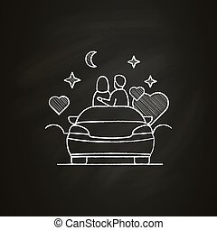 Car date night chalk icon. Romantic pastime concept. Comfortable car helps relax together under starry sky. Romantic vibes concept. Isolated vector illustration on chalkboard