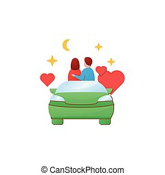 Car date night flat icon. Romantic pastime. Comfortable car helps relax together under starry sky. Romantic vibes concept. 3D color vector illustration
