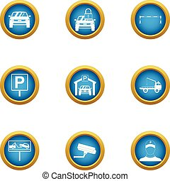 Car deal icons set, flat style