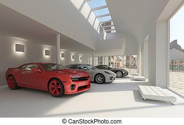 car dealer - illustration car dealer and automobile in the...