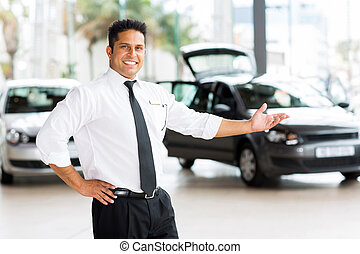 car dealer presenting new vehicle