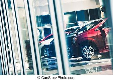 Car Dealer Window Shopping. Dealer Cars Stock. Showroom...