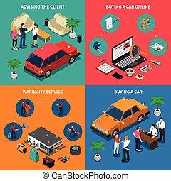 Car Dealership Isometric Concept