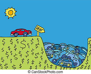 Car Debt cartoon metaphor of vehicles getting stuck in money...