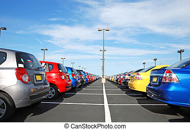 line of the cars in the dealership