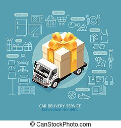 Car Delivery Service Conceptual Isometric Flat Style. Car with Gift Box. Vector Illustration.