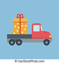 Car delivery with gift box.
