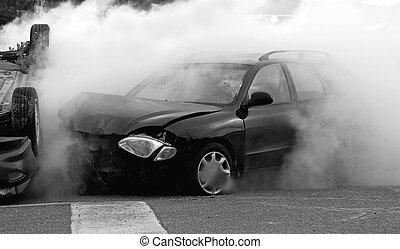 car, desaturated, accident.