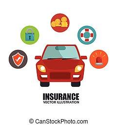 car, desenho, seguro, ícone