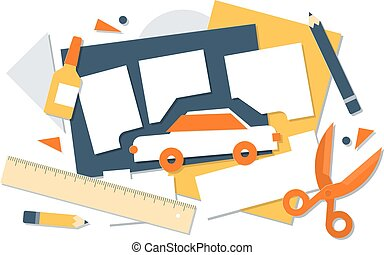 Car design project concept, model planning, prototipe construction