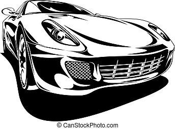 car, desporto, original, meu, desenho