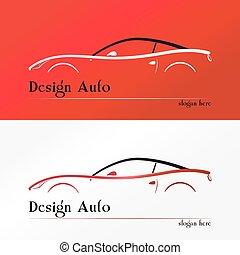 car, desporto, silueta, vermelho, logotipo