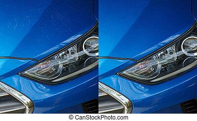 Car detailing theme. Remove scratches on car blue paint