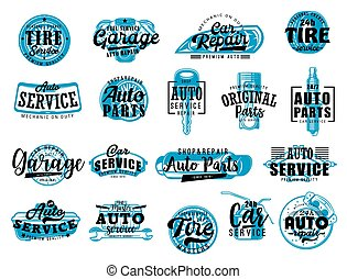 Automobile spare parts workshop, car repair and diagnostic service center lettering icons. Vector automotive garage and mechanic station, tire change or engine spark plugs and brakes replacement