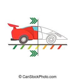 Car diagnostics icon, cartoon style