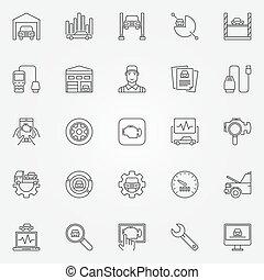 Car diagnostics icons set