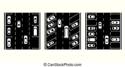 car, diferente, espaços, tipos, estacionamento