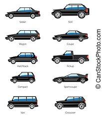car, diferente, jogo, tipos, ícones