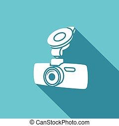 Car digital video recorder vector icon - white car DVR symbol