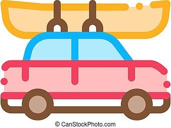 car, dirigido, vetorial, canoagem, bote, ícone, ilustração