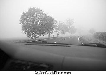 car, dirigindo, em, a, nevoeiro, estrada