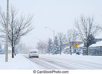 car, dirigindo, em, inverno
