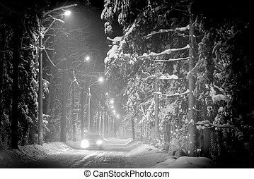 car, dirigindo, em, inverno, floresta, coberto, com, neve