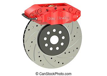 Car disc brake and caliper. 3D rendering