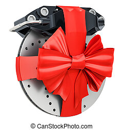Car disc brake and caliper wrapped ribbon and bow, gift concept. 3D rendering