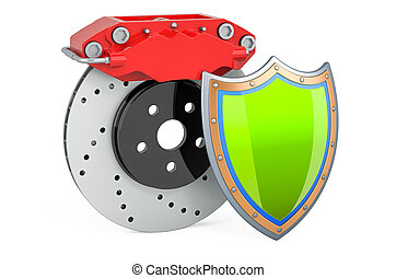 Car disc brake with shield, 3D rendering