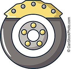 Car disk brake icon, cartoon style