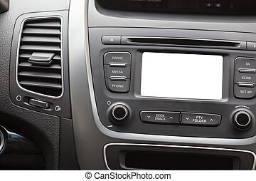 Car display on the dashboard, white background