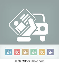 car, documento, ícone