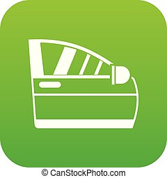 Car door icon digital green
