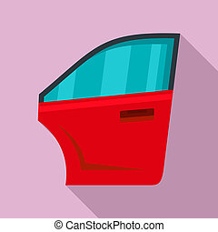 Car door icon, flat style