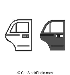 Car door line and glyph icon. Car element vector illustration isolated on white. Auto door outline style design, designed for web and app. Eps 10.