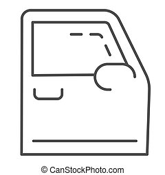 Car door thin line icon. Automobile door vector illustration isolated on white. Auto part outline style design, designed for web and app. Eps 10.