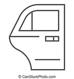 Car door thin line icon. Car element vector illustration isolated on white. Auto door outline style design, designed for web and app. Eps 10.
