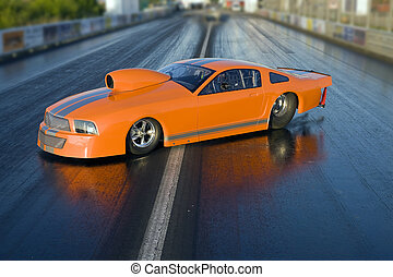 Car - Dragster - Brand new orange dragster placed on the...