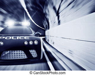 car - black police car with included flashing lights
