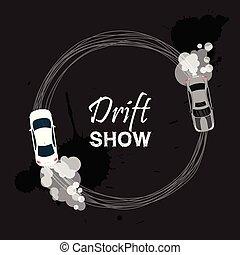 Car drift card vector illustration. Drift show banner,...