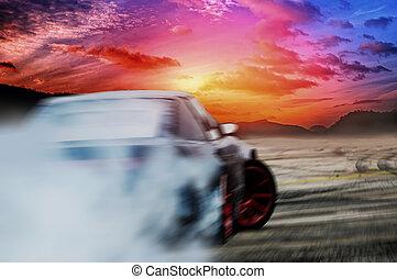 Car drifting on speed track,drifting track