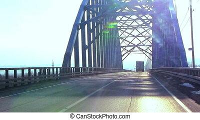 Car drive on the bridge