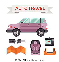 Car drive service elements concept with flat icons and mechanic equipment vector.