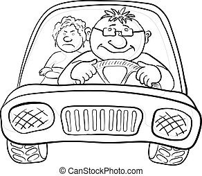 Car, driver and passenger, contours - Cartoon, car with a ...