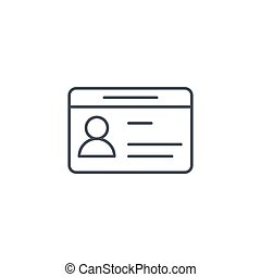car driver, driving license, id card thin line icon. Linear vector symbol