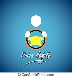 car driver icon or symbol - safe driving concept vector
