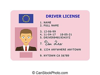 Car driver license card. - Driving id license with person ...