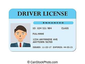 Car driver license card.