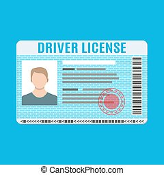 Car driver license identification card with photo.